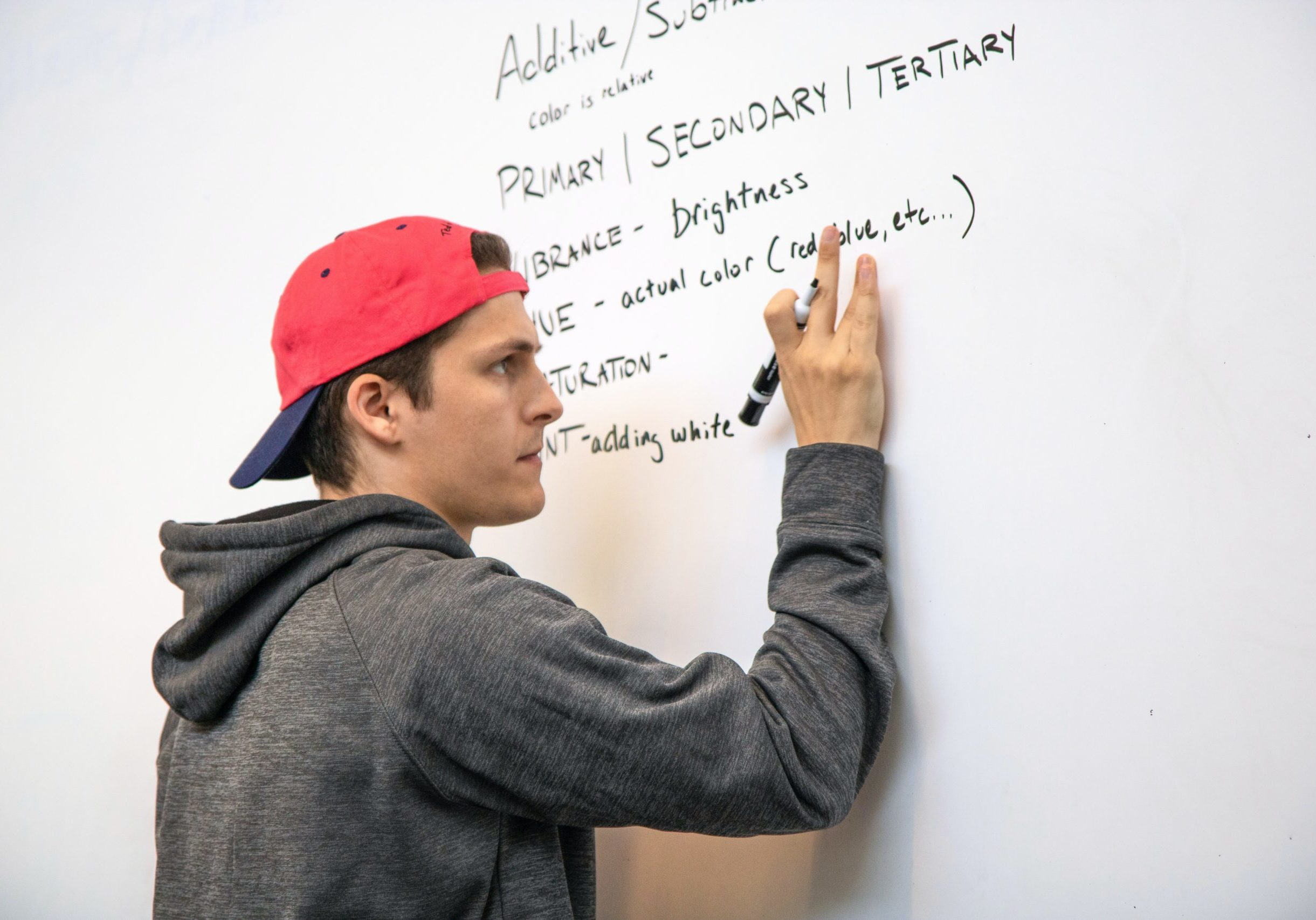 high school or college stuent writing on white board